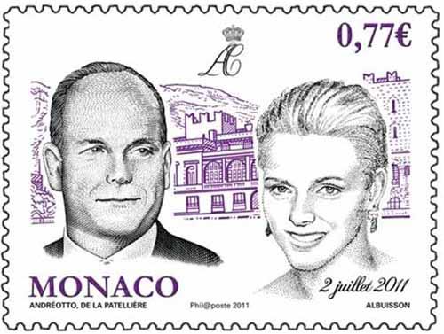 почтовая Марка к бракосочетанию принца Монако