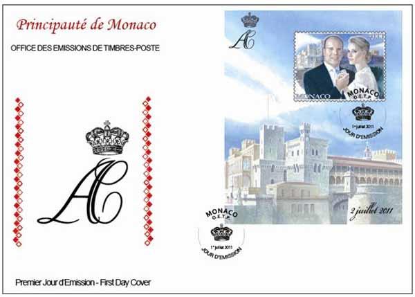 почтовая карточка к бракосочетанию принца Монако
